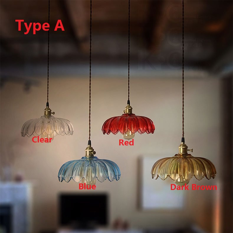 American Country Glass Lotus Retro Pendant Lamp Nordic Vintage Loft - Retro kitchen ceiling light fixtures
