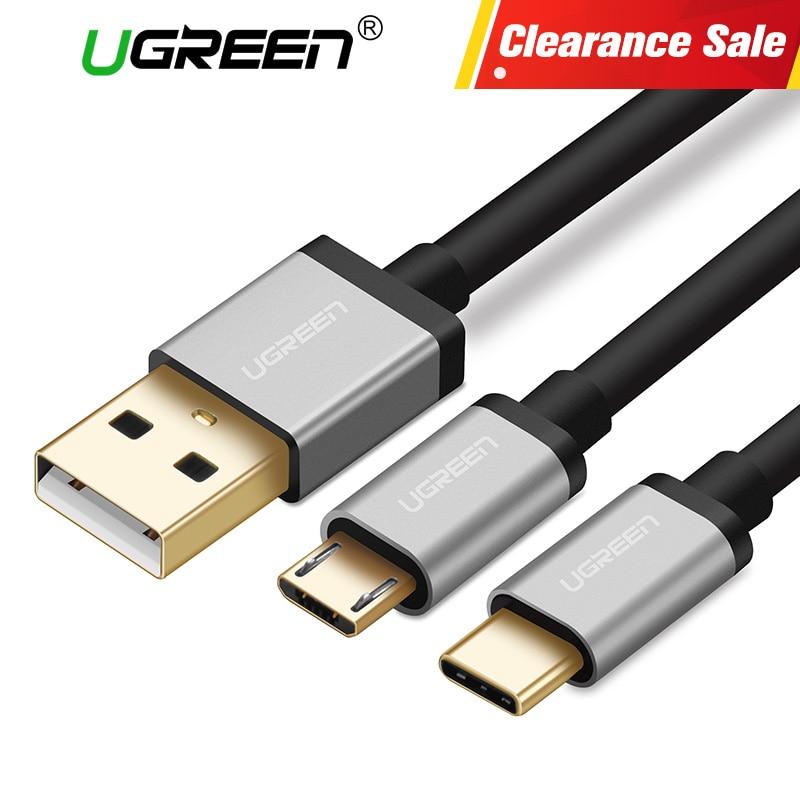 Ugreen 2 en 1 mi cro USB y Cable USB tipo C 2.4A Cable de carga rápida para Samsung S8 S9 xiao mi 8 rojo mi 4x Cables del teléfono móvil
