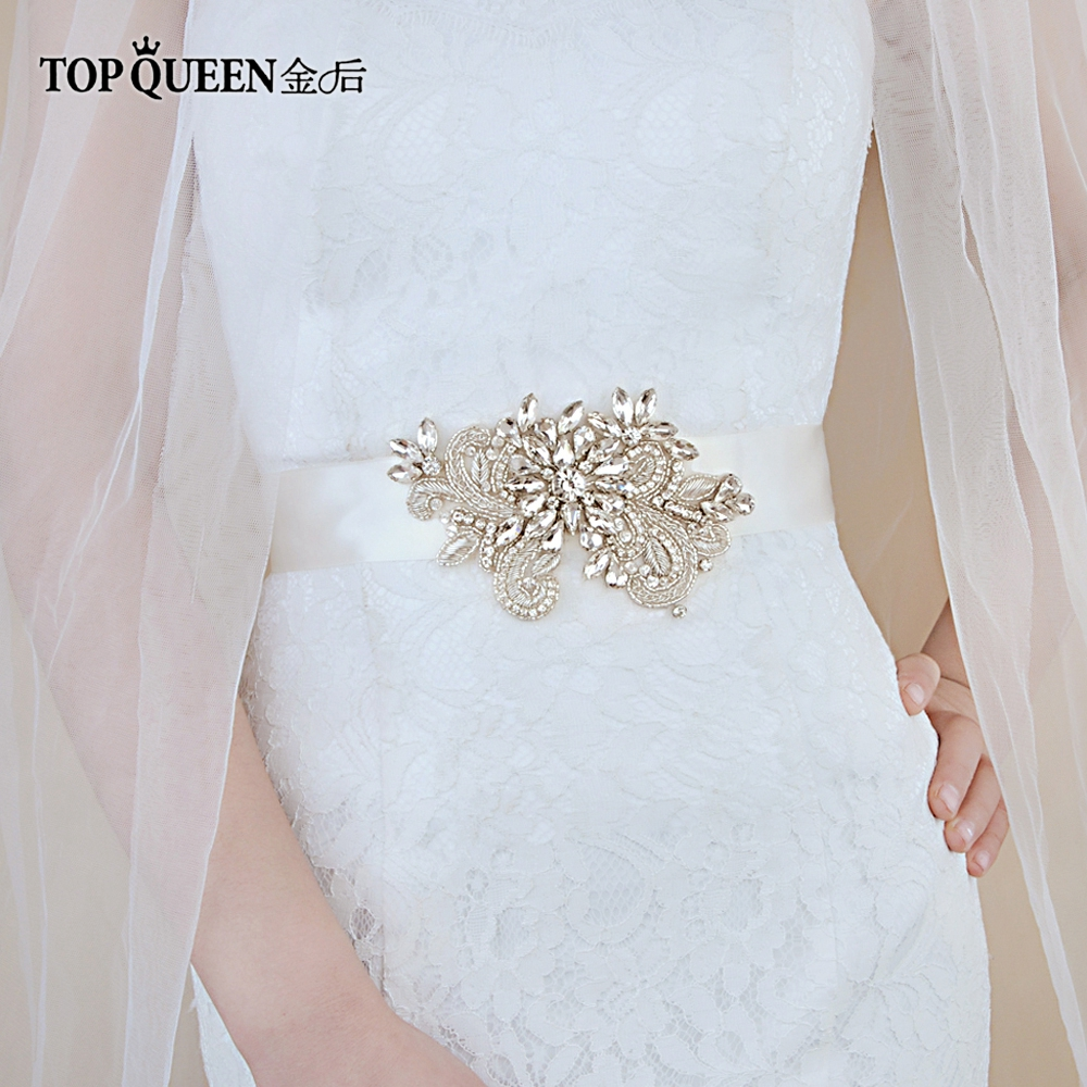 TOPQUEEN Handmade Belt For Bride India Lace Applique Belts  Wedding Sash Beading Bridal Belts Silver Belt For Women Dresses S405
