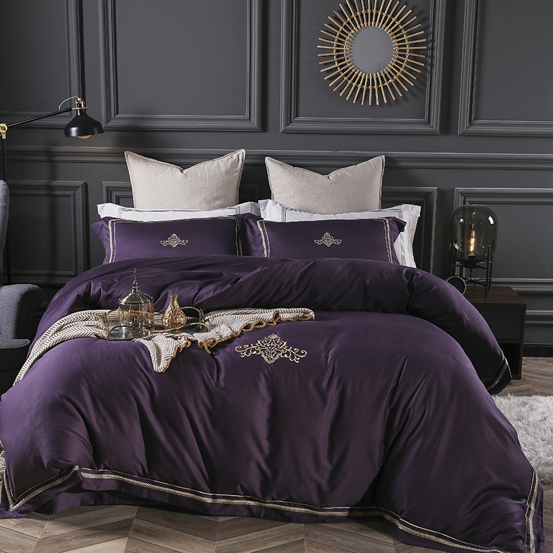 Purple queen king size <font><b>bedding</b></font> <font><b>sets</b></font> <font><b>Luxury</b></font> <font><b>egyptian</b></font> <font><b>cotton</b></font> bed <font><b>set</b></font> bed sheet <font><b>set</b></font>,bed <font><b>set</b></font> embroidery bed linen pillowcases image