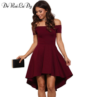 DeRuiLaDy Women Summer Long Dress 2017 Womens Off Shoulder Party Dresses Red Blue Casual Elegant Vintage