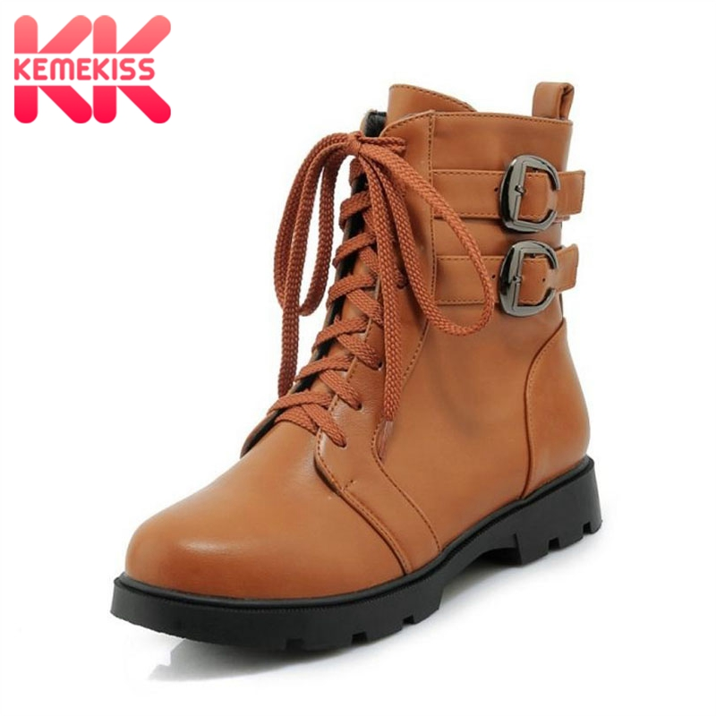 KemeKiss Size 33-43 Women Flats Boots Metal Buckle Warm Winter Ankle Boots Zipper Round Toe Ladies Shoes Fashion Short BootsKemeKiss Size 33-43 Women Flats Boots Metal Buckle Warm Winter Ankle Boots Zipper Round Toe Ladies Shoes Fashion Short Boots