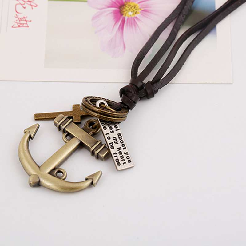 Factory Direct Fashion Män Kvinnor Cross Anchor Hängsmycke Vintage Leather Necklace Long Necklaces Gratis frakt