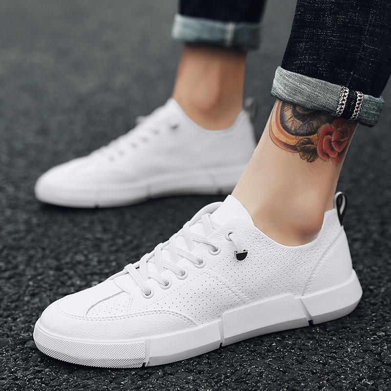 2018 new men's shoes leather Tide fashion comfortable breathable lace-up men casual shoes high quality