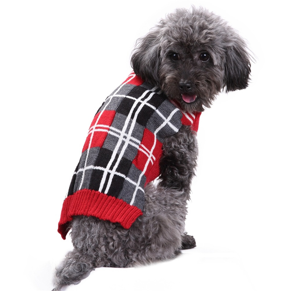 Red Plaid Pet Knitted Sweater Scotland Style Pet Dog Clothes For Small Dogs Chihuahua Winter Warm Puppy Costume French Bulldog