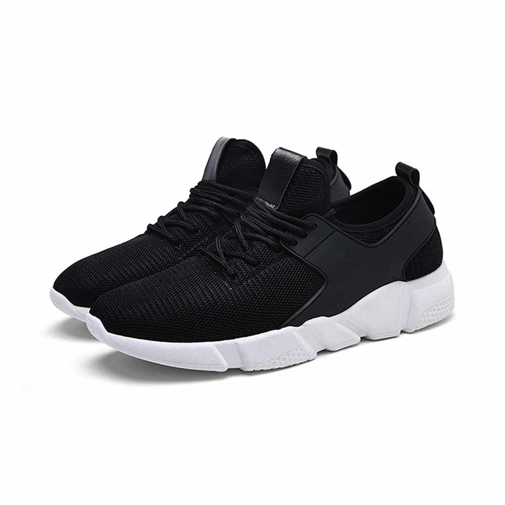 ISHOWTIENDA Sneakers Sports Shoes Breathable Stability Rubber Solid Color Cross Tied Stripe Casual Gym Running Shoes Man