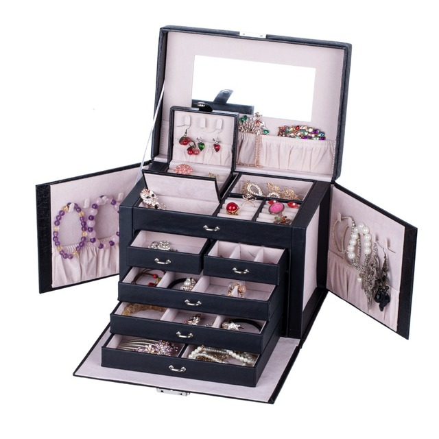 Large Jewelry Boxes Display Organizer Packaging For Girls Travel Case Earrings Necklaces Ring Silk Pattern Storage