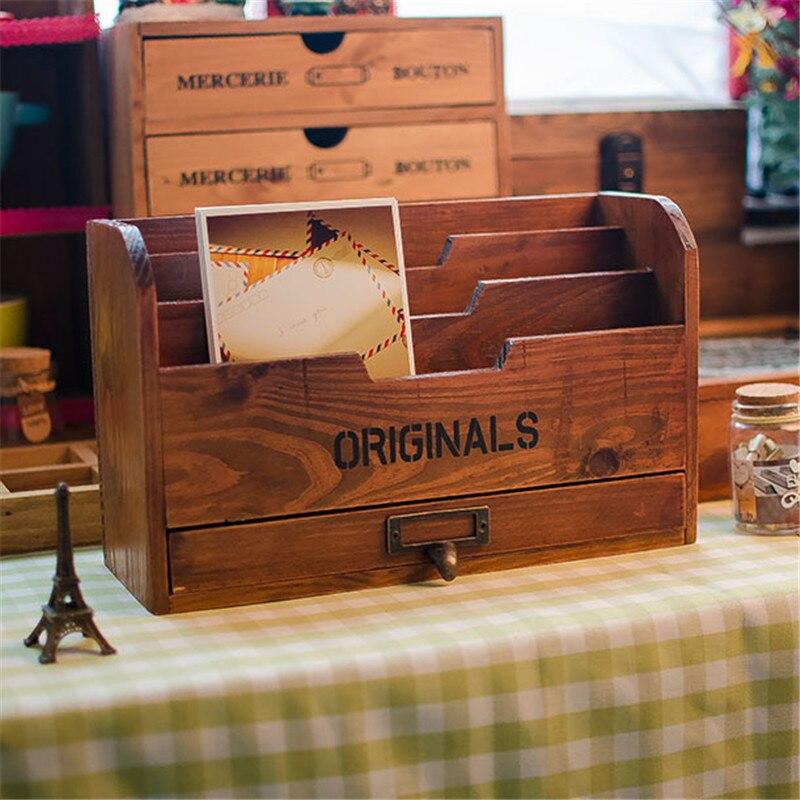 Boîte en bois multifonction boîtes de rangement boîtes décoratives en bois boîte à crayons Vase bijoux coffres au trésor décor titulaire fournitures