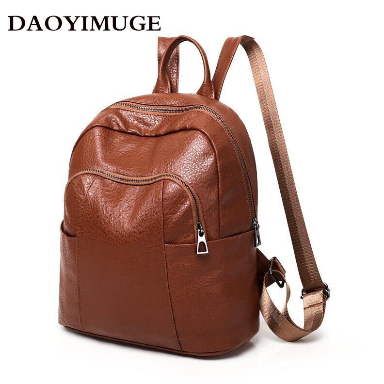 d2507fd8dd49 2018 Fashion Women Backpacks PU Leather Backpack Shoulder Bags Daypack for Women  Female Rucksack Feminine