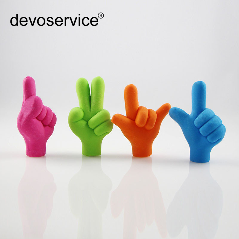 2pcs/lot Finger Gesture Eraser Pencil Top DIY Rubber Eraser School Student Children Prizes Gift Promotion Random Color