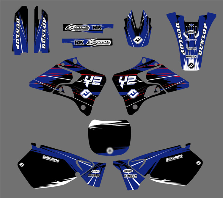 DST0022 New TEAM Motorcycle GRAPHICS BACKGROUNDS DECALS STICKERS Kits for Yamaha YZ125 YZ250 1996 1997 1998