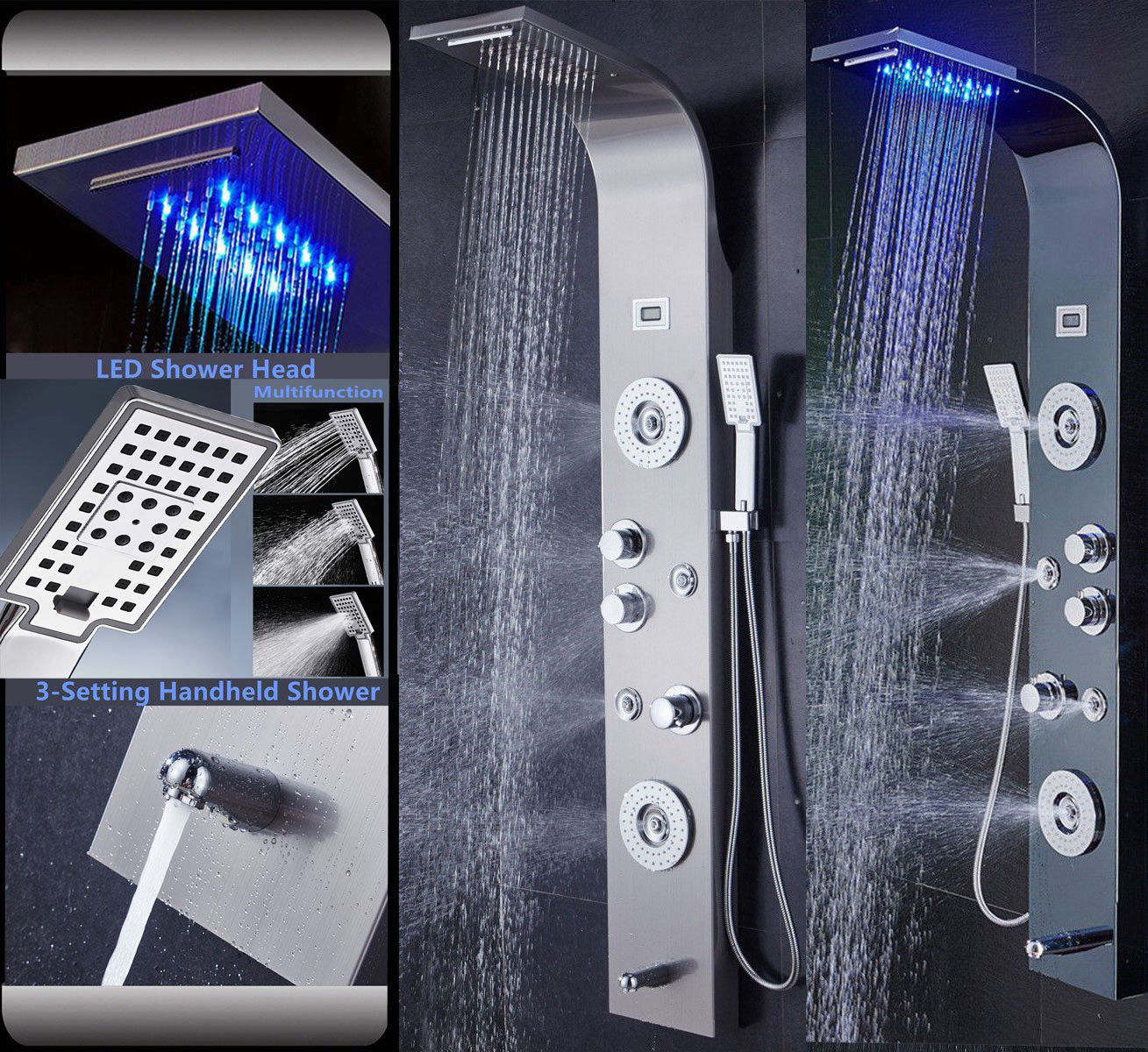 LED Rainfall Waterfall Shower Jets Massage Body Jets Hand Shwoer Tub Spout Stainless Steel Shower Panel Tower System new york jets stainless dog bowl