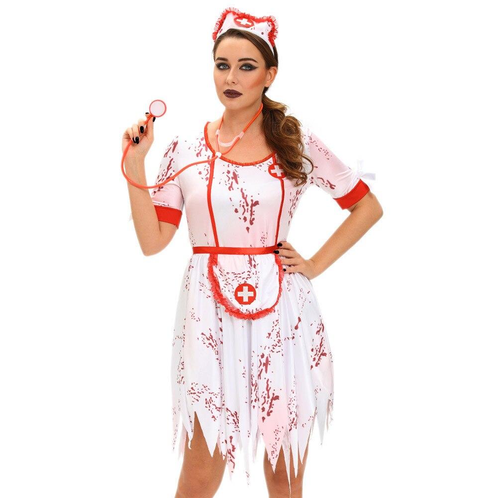 Deguisement Halloween Nurse Costume Doctor Cheap Cosplay Women scary zombie nurse irregular hem three women's stage 8967 Dirndl