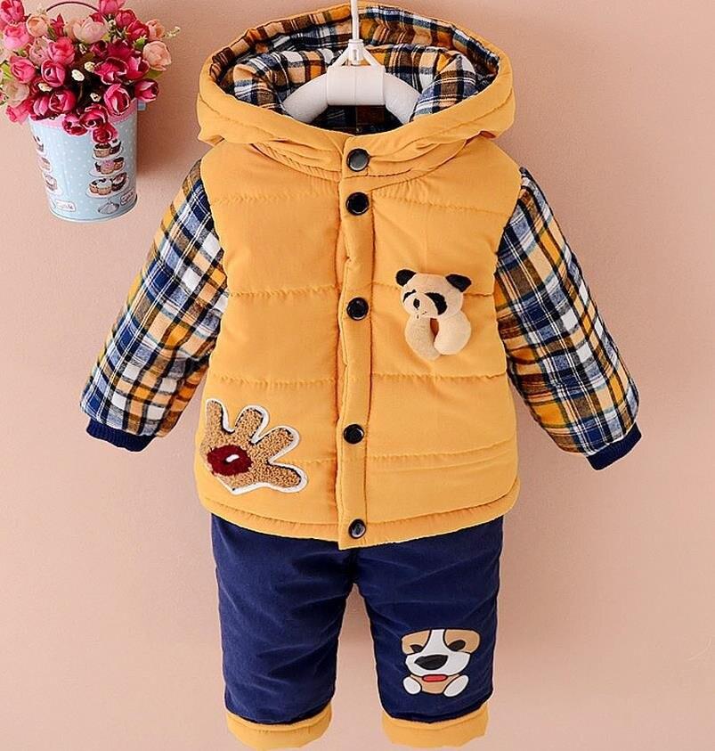 New 2017 Baby boys winter clothing suit set warm down jacket+pants long sleeve coat kis clothing set fashion clothes 12M-3years