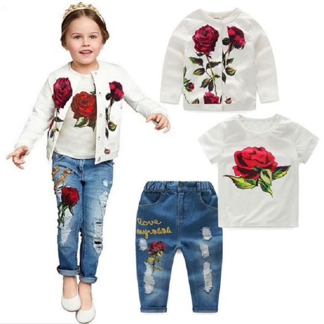 2016 Primavera/Otoño Nueva Marca de Moda Rosa Ropa de Las Muchachas 3 unids 2-9Y Ropa Para Niños Chicas manga larga Niños de las flores sistema de la ropa