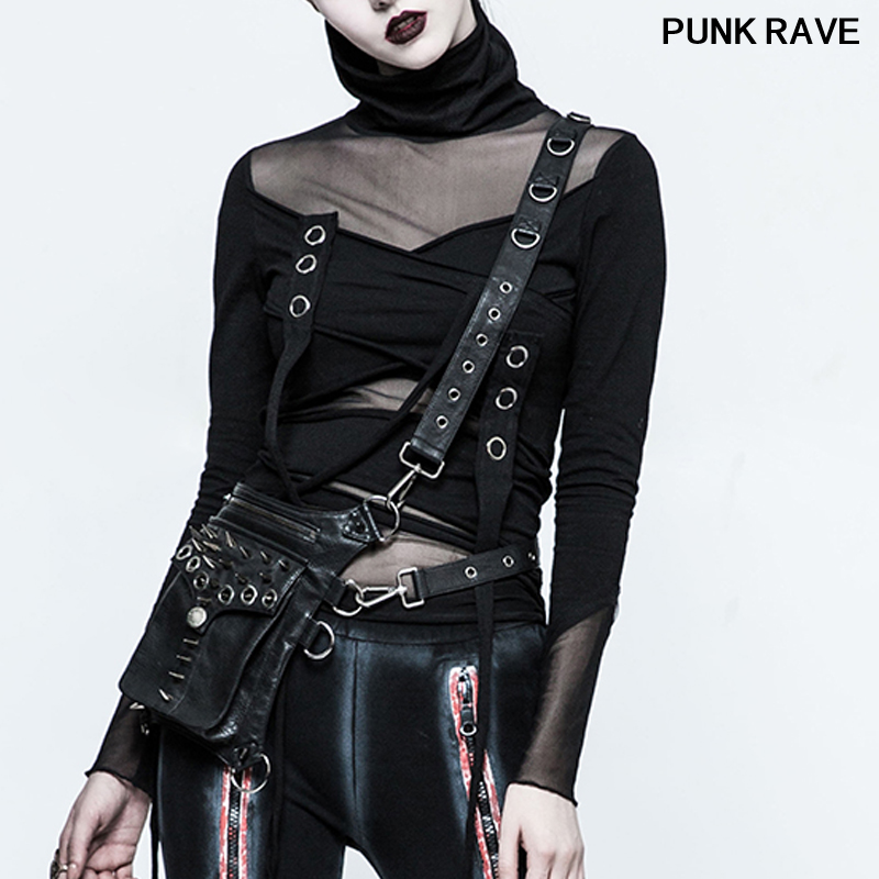 Fashion Classic black Leather rivets corns cool Leg Pack Punk Rock streets Shoulder Cross women Waist Belt Bags PUNK RAVE S-222
