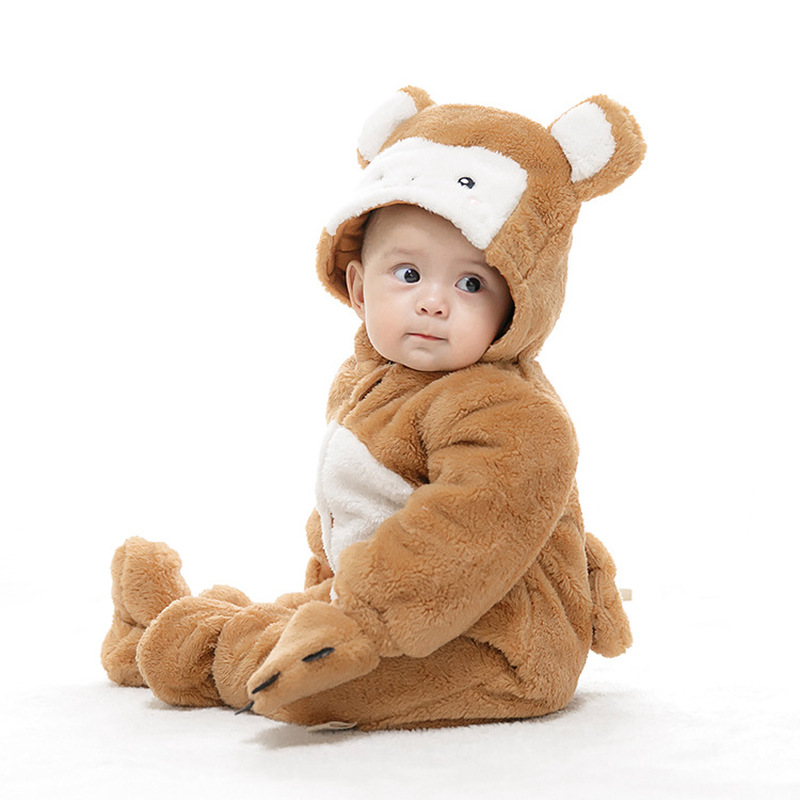 Winter Baby Romper Padded Baby Jumpsuit Winter Cute Monkey Animal Shape Children Thick Section Dress 1pcs winter jumpsuit hip hop monkey animal shapes conjoined baby coverall pile thickness footies n06