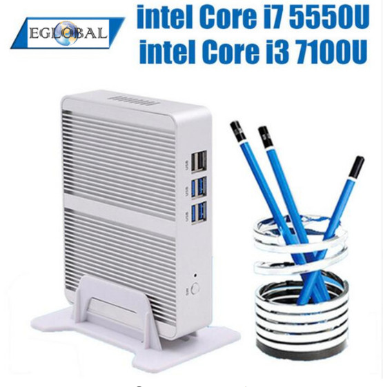 EGLOBAL NUC Intel Core I5 7200U Mini PC Windows 10 Linux Server Fanless Aluminum Alloy X86 Mini Computer HTPC 4K HDMI Office PC