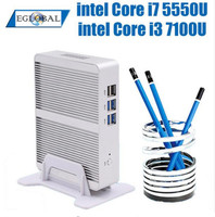 EGLOBAL NUC-miniordenador Intel Core i5 7200U, Windows 10, Linux, sin ventilador, aleación de aluminio, HTPC 4K, HDMI, PC de oficina