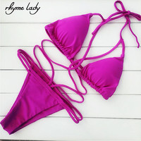 Rhyme Lady 2017 Brazilian Bikini Set Women Halter Strap Bandage Sexy Bathing Suit Swimwear Party Tong