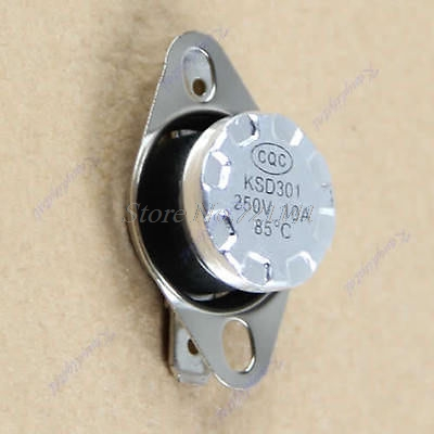 10pcs/lot KSD301 85degree Normal Close NC Temperature Controlled Switch Thermostat 250V 10A Dropship