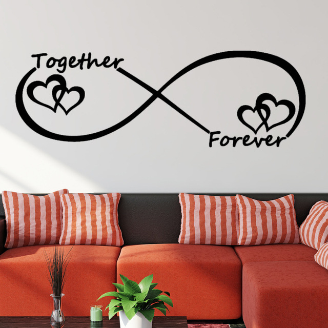 US $1.77  Wall Decals Love Wall Stickers Bedroom Decor Infinity Symbol Word  Love Bedroom Vinyl Wall Art Mural Together Forever-in Wall Stickers from ...