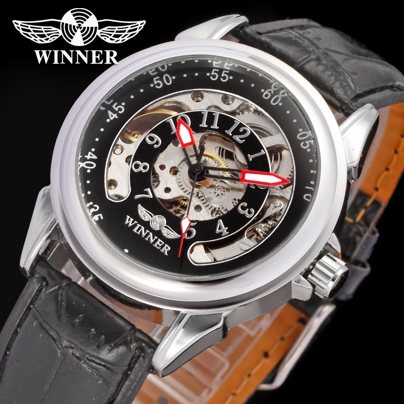 Fashion WINNER Men Luxury Brand Cool Skeleton Leather Band Watch Automatic Mechanical Wristwatches Gift Box Relogio Releges 2016 fashion winner men luxury brand date leather band casual watch automatic mechanical wristwatches gift box relogio releges 2016