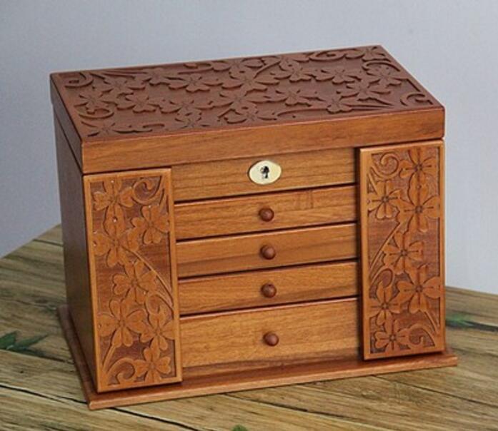 البرسيم الخشب الحقيقي المجوهرات مربع الرجعية نمط كبير متعدد الطبقات الزواج عطلة هدية ماكياج المنظم صندوق تخزين حالة 34 * 25 * 23 سنتيمتر