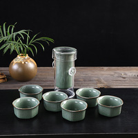 China famous Ge kiln Kung Fu Tea Set Include 6 tea cups 1 teapot,black tea glass pot Porcelain Brand Exquisite Set TeaCup