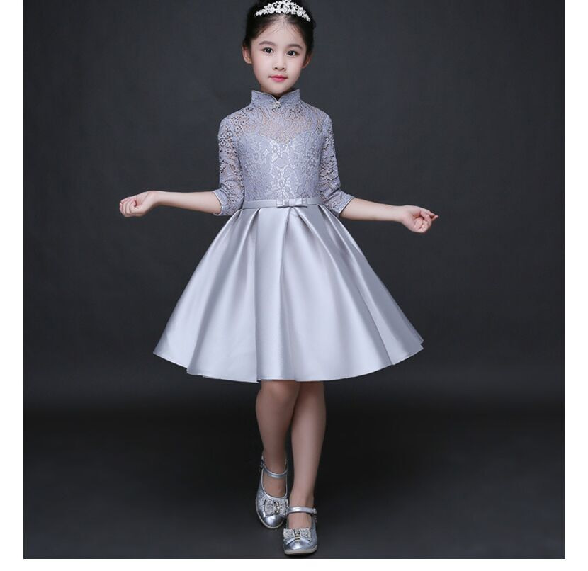 HTB14miSQFXXXXaZaXXXq6xXFXXXH - Baby Girl Kid Evening Party Dresses For Girl Wedding Princess Clothing 2017 New Solid Color Bow Moderator Dress Children Clothes