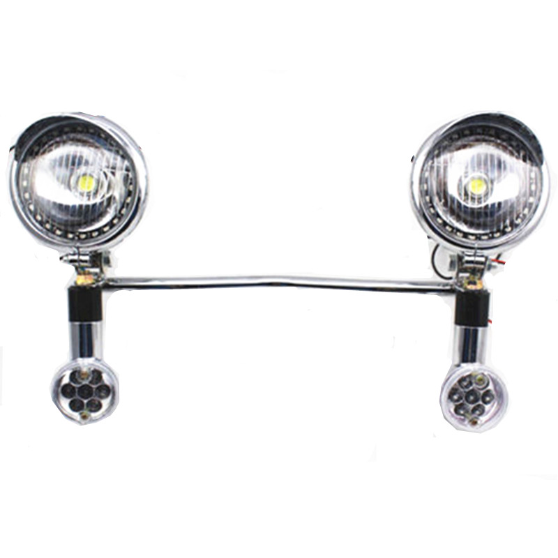 Chrome Motorcycle Headlight Set With Bullet Turn Signals