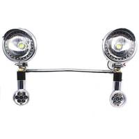 Chrome LED Turn Signals Spot lights Bar For Suzuki Boulevard Yamaha VStar XVS XV 1100 Kawasaki Vulcan Honda VTX 750 1100 1300