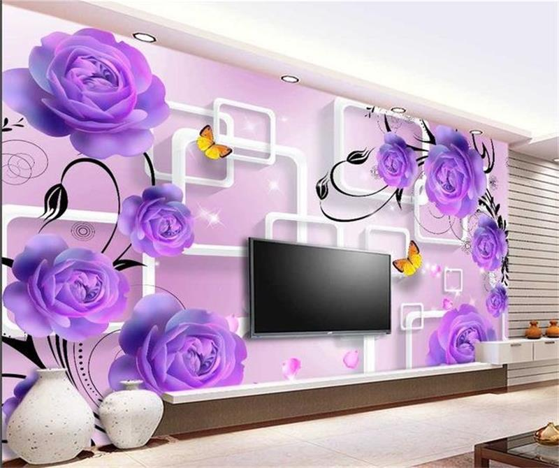 purple rose background 3d sofa wall sticker tv flower murals walls woven non custom zoom sofas