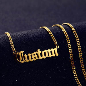 Necklace Pendant Cuban-Chain Nameplate Gifts Gold-Color Personalized Women Handmade