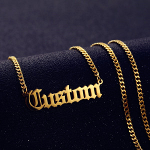 Personalized Custom Name Necklace Pendant Gold Color 3mm Cuban Chain Customized Nameplate Necklaces for Women Men Handmade Gifts(China)