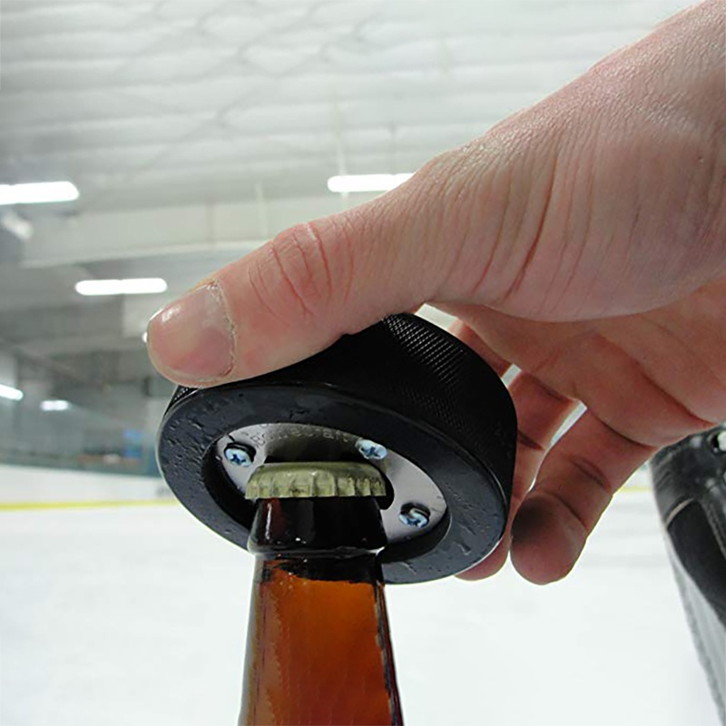 Ice Hockey Bottle Opener Portable Round Hockey Rubber Bottle Opener Multi-Function Beer Bottle Opener Accessories