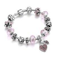 Athina 2 Color Crystal Beads Charm Bracelets Silver Color Bracelets For Women Lover S Wedding DIY