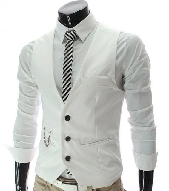 Vintage Men Suit Vest 2016 New Arrival Slim Fit Fashion Designer Brand Formal Business Dress Waistcoat