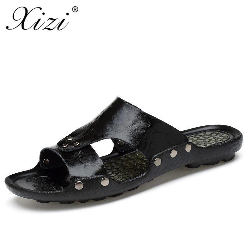 fb59665eeca XIZI 2019 new men s fashion leather flip flops leather slippers summer  fashion beach slippers sandals men s