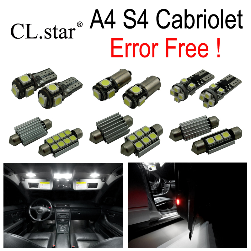 19pcs LED License plate bulb + interior dome map light full kit for Audi A4 S4 Convertible Cabriolet Cabrio (2002-2009) 27pcs led interior dome lamp full kit parking city bulb for mercedes benz cls w219 c219 cls280 cls300 cls350 cls550 cls55amg