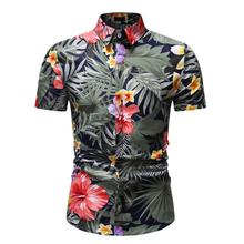 Social Shirt for Men Flower Blouse Men's clothing Hawaiian Shirt Slim fit Evening Dress Short sleeve Summer