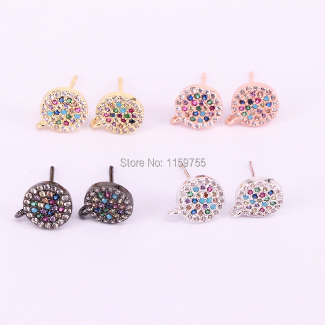 Fashion 6pair Mix Color Round Earring Studs Micro Pave Cz Stud Earrings Women Jewelry