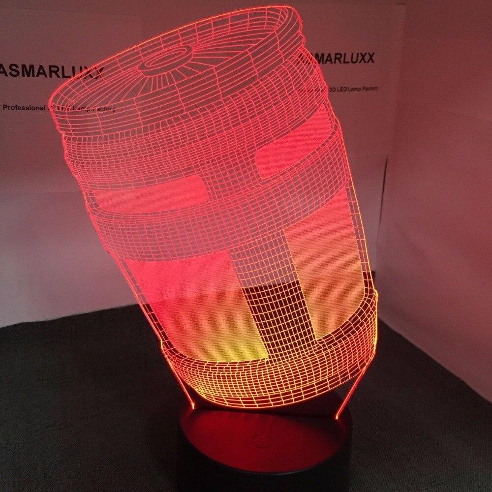 Chug jarra 3D lámpara LED USB noche lámpara OEM ODM personalizar gota con todas las formas 7 colores decoración cambios espectáculo de luz regalo