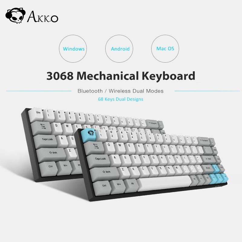 AKKO 3068 Wireless Mechanical Keyboard Bluetooth 3.0 Type-C Wired Mechanical Cherry Switch Retro 68 Keys For Windows Android PC