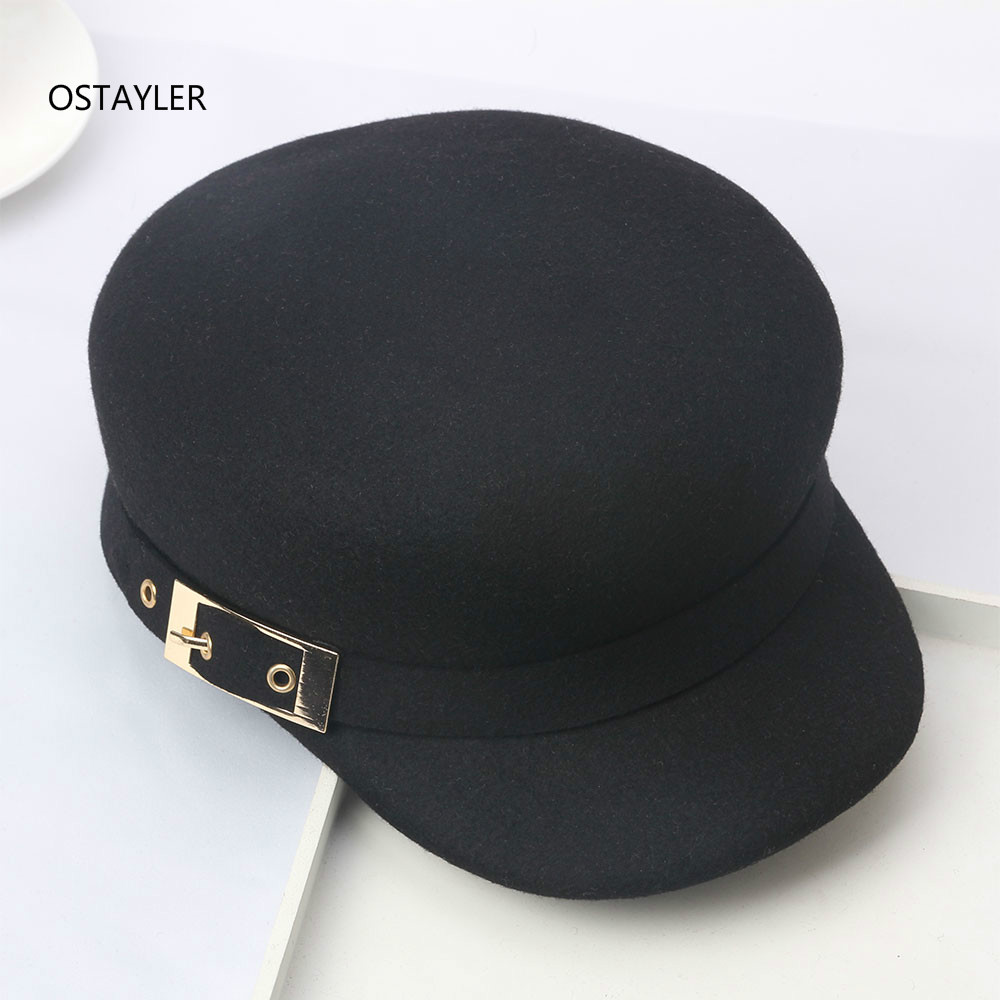 Korean Casual Wool Baseball Cap For Women Winter Vintage Plain Ladies Buckle Knight's Hat Wool Felt Casquette Hat Cap casual imitated ostrich skin solid color felt baseball cap for women