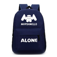 Marshmelloa backpack American DJ alone nylon backpacks girls boys teenager luminous rucksacks DOTCOM BAG