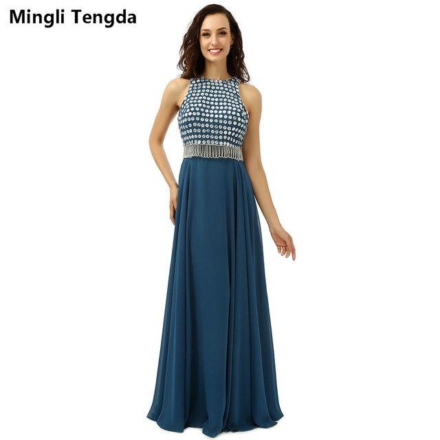 2017 Dark Teal Long Prom Dresses Tassel Pure Hand Crystal Beaded
