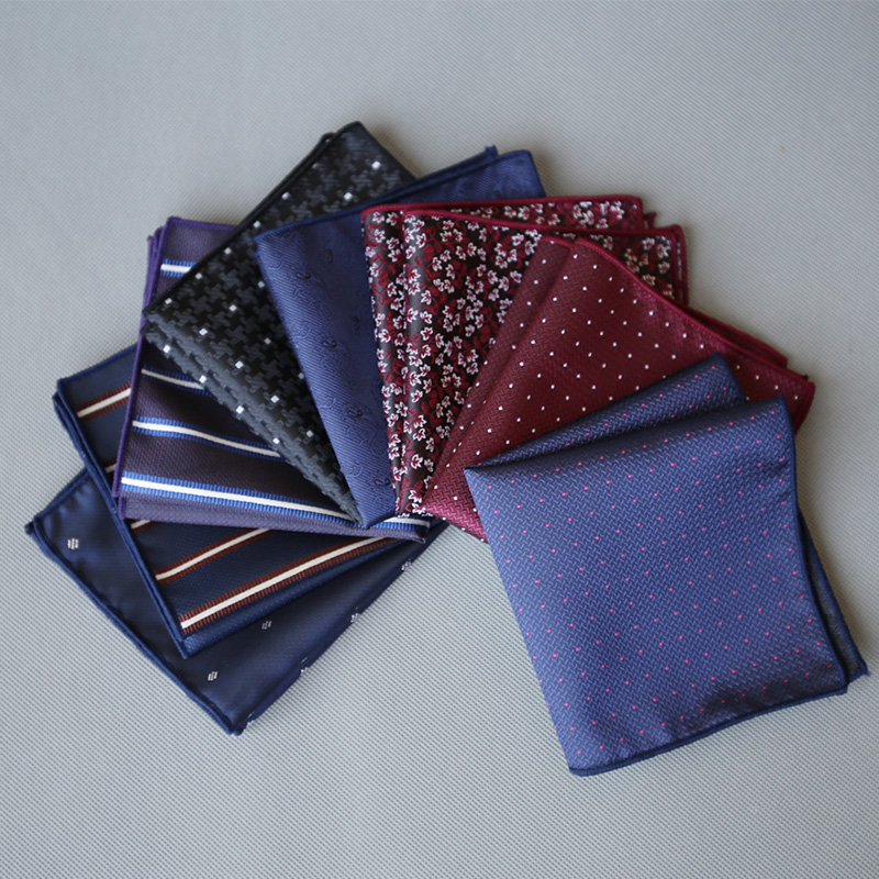Mantieqingway Business Suits Pocket Towel Mens Handkerchief Polyester Hankies Chest Towel Striped Dot Pocket Square For Wedding