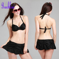 Pop Drape Skirt Bikinis Three Pieces Set Swimsuit New Arrival Push Up Swimwear Bikini Two Belt