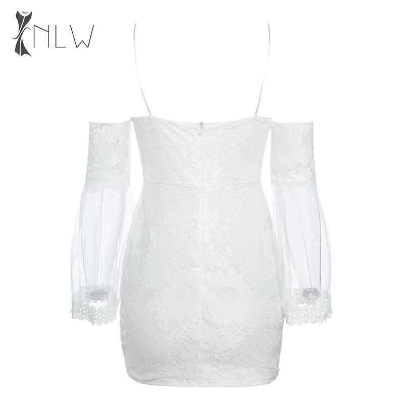 NLW Sexy maille moulante robe Spaghetti sangle Club fête Mini robes automne hiver dentelle blanc Bandage robe Vestidos